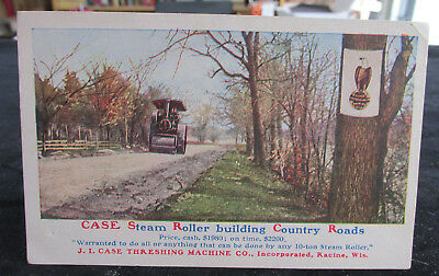 1908-1915 Postcard Advertising CASE STEAM ROLLERS, Steam Engines, Steam Tractors