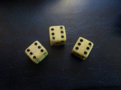 3 Vintage  Small Old Bone Dice Antique and Collectable Condition