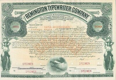 Remington Typewriter Company Specimen Stock Certificate 100 Shares$100 Very Rare