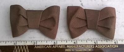 Women's Cocoa Brown Bow Shoe Clips Grosgrain Ribbon