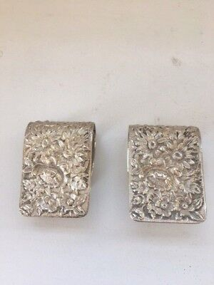 2 S. Kirk & Son Sterling Silver Repousse Napkin Clip2 17F
