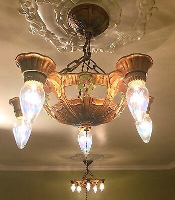 Pair~Antique Art Deco / Arts & Craft 5 lt Chandeliers- bronze/ viridian green