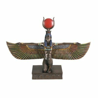 Bronze Isis W/ Open Wings Collectible Figurine Statue Sculpture Figure