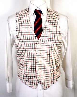 vtg 50s 60s Dapper Cream/Green/Red Box Check Plaid Wool Suit Vest Waistcoat 38 S