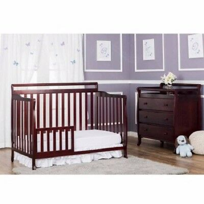 Dream On Me Liberty 5-in-1 Convertible Baby Bed Nursery Traditional Cherry
