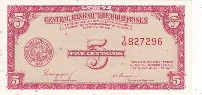 UNC 1949 Philippines 5 Centavos Note, Pick 125a