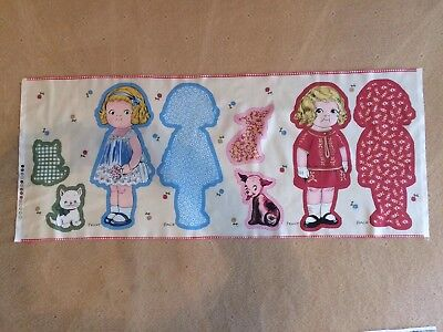 Rag Doll Cotton Fabric Panel Blue Rag Doll Red Rag Doll for Sewing Craft