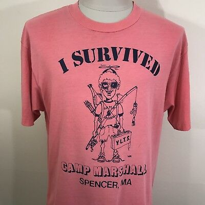 VTG 80s Faded Soft & Thin Hanes 50/50 I Survived Camp T Shirt L/XL 90s USA