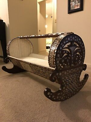 Antique Sea Shell Detail Baby Cradle
