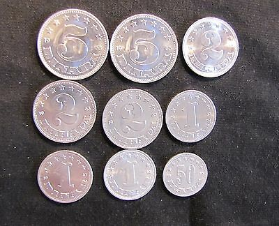 Lot of 9 Yugoslavia High Grade Coins - 1953 & 1963 Coins including 2 & 5 Dinar