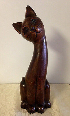 "Hand Carved 15"" Tall Cat Figurine Statue - Great Expression"