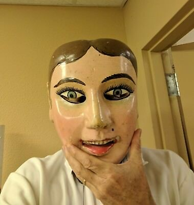 20th C Mexican or Guatemalan Wood Festival/Dance Mask of a Woman