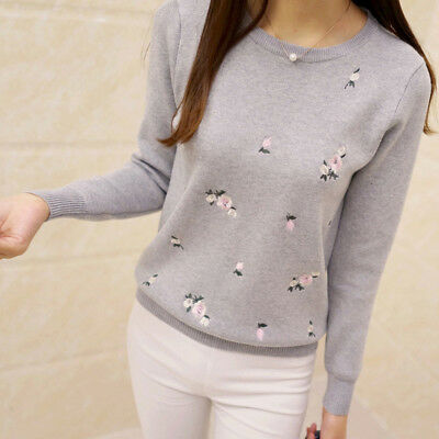 Embroidery Floral Knitted Sweater Women Winter Sweater Pullover round collar