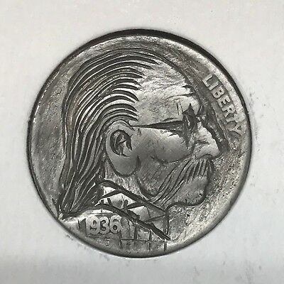 "1936 Hand Carved Original Hobo Nickel One Of A Kind! ""Uncle Emillio"""