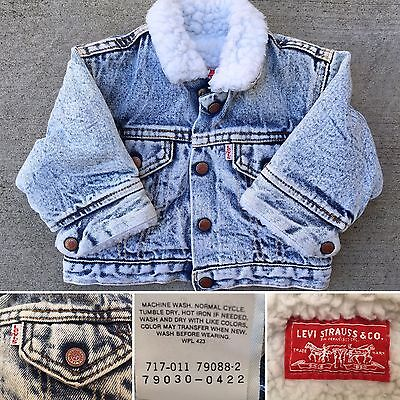 Vintage Levi's Acid Wash Denim Jacket Sherpa Lined USA 9 Mo Little Levi's