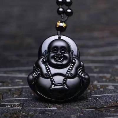 Fine Natural Hand-carved Chinese Obsidian Black Jade Pendant Maitreya Buddha