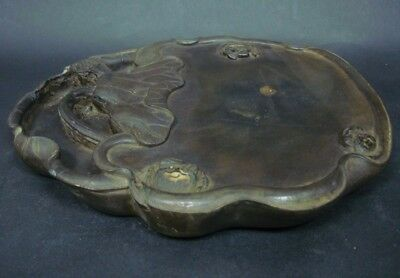 2.35kg Old China Hand Carving Lotus Crabs Ink Stone InkSlab Marks