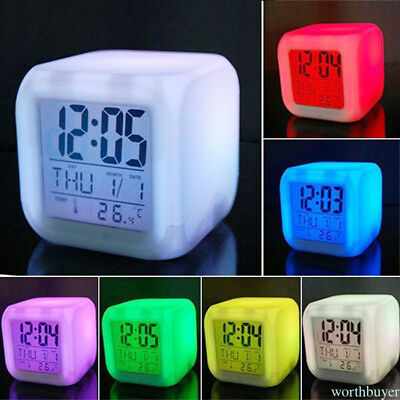 Stress Relieve Home Bedroom Kids 7 Color LED Change Digital Glowing Alarm Clock