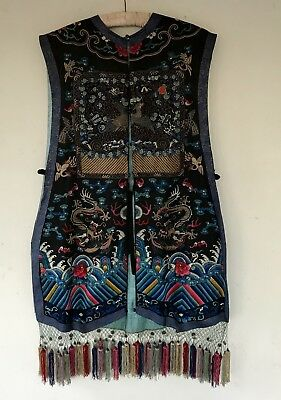 antique qing dynasty xiape embroiderd silk chinese dragon court waistcoat robe