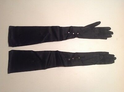 Vintage Womans Long Length Opera/evening Gloves With Faux Diamond Buttons