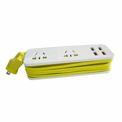 2 Outlet Travel Power Strip Surge Protector 4 USB Charging Ports Wall Charger