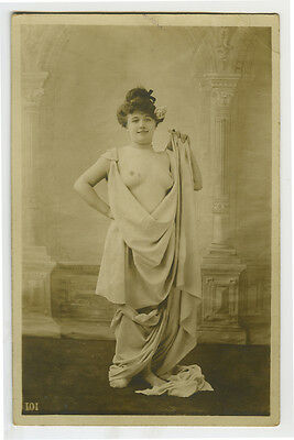 c 1910 Sexy French BEAUTY PART NUDE Lady photo postcard