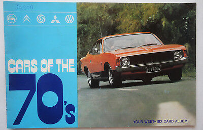 CARS OF THE SEVENTIES - complete album of 20 car swap cards 1976 - New Zealand