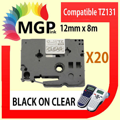 20x Laminated Label Tape for Brother TZ-131 TZe-131 Black on Clear 12mm x 8m