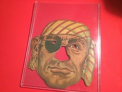 """Very Rare Vintage Halloween 1950S Premium Cereal Box Cut Out """"pirate"""" Mask"""