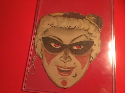 """Very Rare Vintage Halloween 1950S Premium Cereal Box Cut Out """"girl Joker"""" Mask"""
