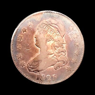 1825/4/2 Capped Bust Silver Quarter Dollar. Scarce In Any Grade. AU+ Almost UNC