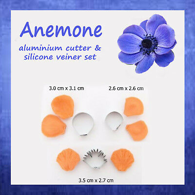 ANEMONE - flower cutter and veiner set for CAKE DECORATION, fondant, GUM PASTE