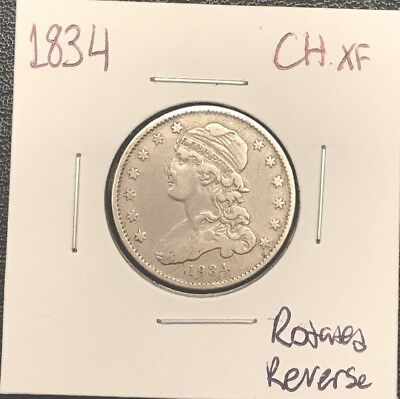 1834 Capped Bust Silver Quarter. CHOICE XF++ Rotated Reverse**