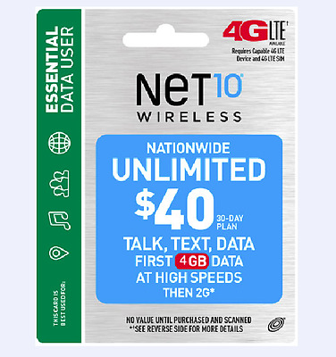 Net10 $40 Unlimited Talk And Text W/ 4GB High Speed Data -Refill Service-