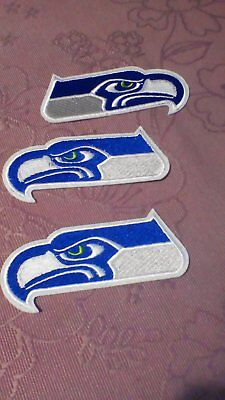 3 x SEATTLR SEAHAWKS NFL GRIDIRON IRON ON/SEW ON EMBROIDED PATCHES BADGES JERSEY