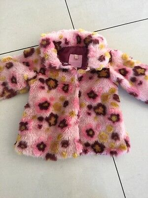New Without Tags Designer London Fog Baby Faux Fur Pink Floral Coat Lined 12M