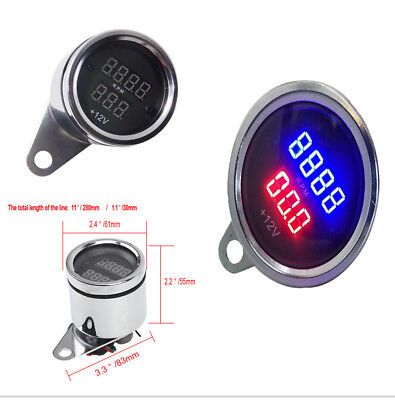 High Quality Waterproof  Motorcycle LED Digital PRM Tachometer Voltmeter Gauge