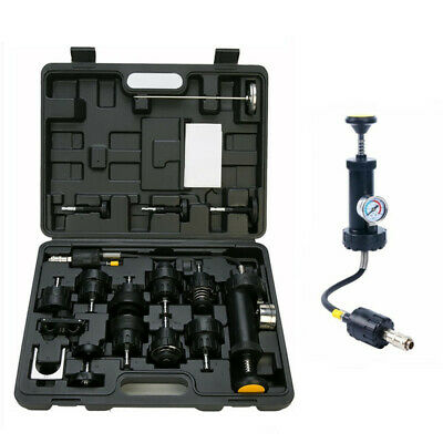 18 Radiator Pump Pressure Cooling Leak Tester Checker Kit Cap Pump Thermometer