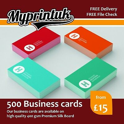 500 Business Cards - 400gsm Premium Silk Artboard - DOUBLE-SIDED