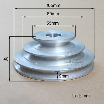 "16 to 20mm Bore, V groove 3 Step Pulley For 3/8"" = 9.525mm Belt width - Select"