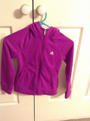 Girl's purple/violet adidas hooded zip jumper size UK7-8Y US xs
