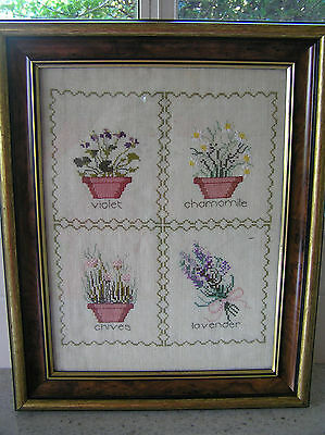 Framed completed cross stitch needlepoint, chamomile, lavender, violet, chives