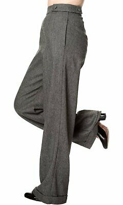 Banned 40s Lindy Jive Lady Luck Black Herringbone Swing Trousers