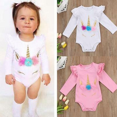 Toddler Kids Baby Girls Unicorn Playsuit Romper Jumpsuit Bodysuit Clothes Outfit