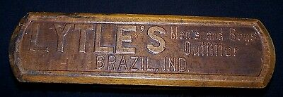 Antique Wood Wooden Lytle's Men's & Boys' Outfitter Clothing Brush-Brazil In