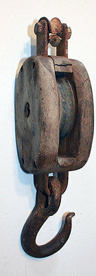 Vintage Wood Single Pulley Block