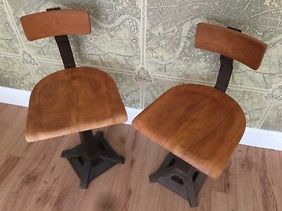 2 Singer Sewing Chair Chairs Stool Factory Industrial Machinist Antique