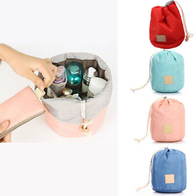 Fashion Travel Makeup Drawstring Pouch Bucket Barrel Shaped Cosmetic Case Bag