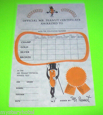 Original Planters Mr Peanut Official Award Certificate For Physical Fitness Test