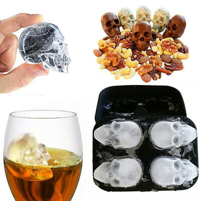 Silicone 3D Skull Ice Cube Mold Cocktails Whisky Ice Mould Trays Party Halloween